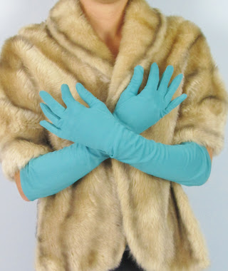 Vintage 1950's Teal Opera Gloves
