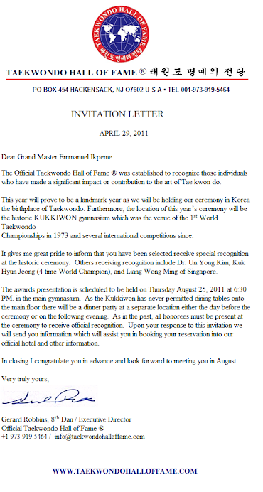 LETTER OF INVITATION TO TAEKWONDO HALL OF FAME 2011 BANQUET AND AWARD CEREMONY