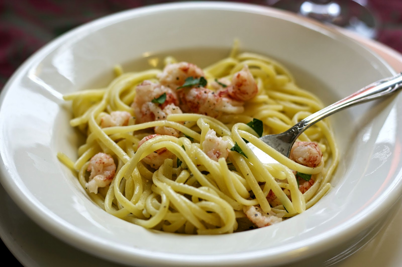 Langostino with Vanilla Cream Sauce over Linguine- simplelivingeating.com