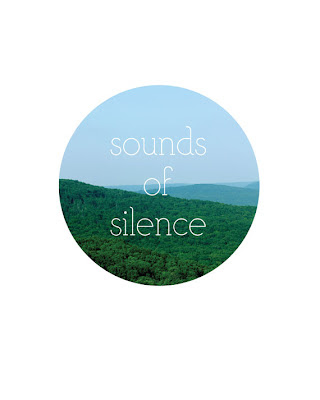 sounds of silence circle with mountains landscape