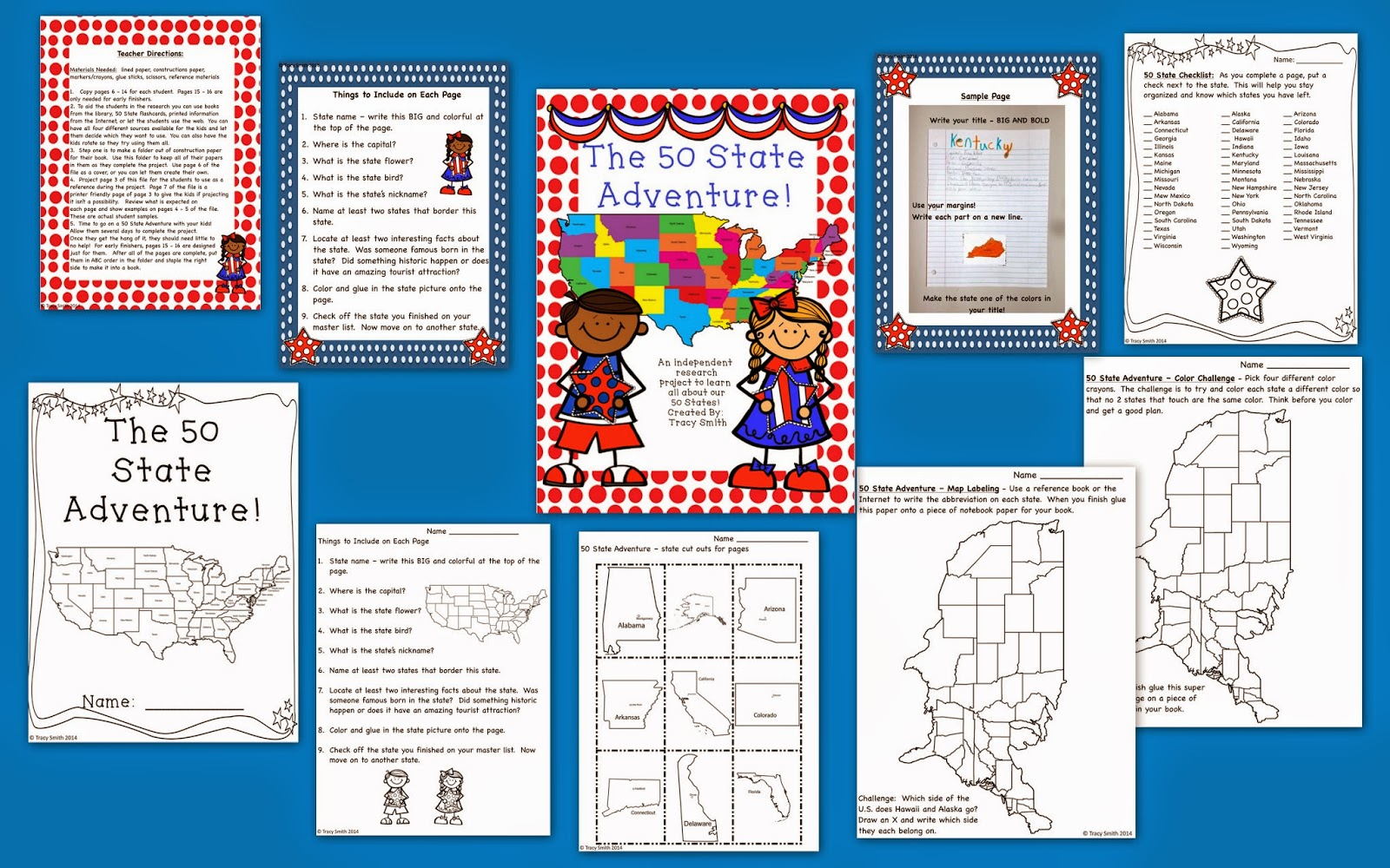 http://www.teacherspayteachers.com/Product/The-50-State-Adventure-Learn-about-all-the-states-Gr-2-5-1257932