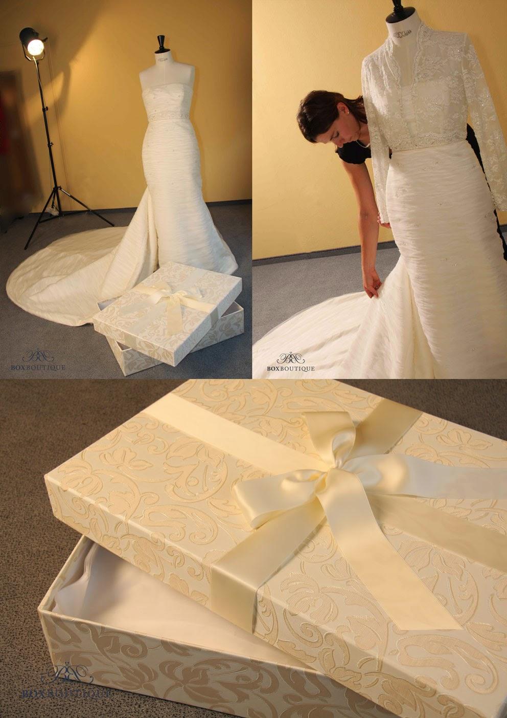 Die Brautkleidbox in Größe S ist geeignet für schmale Brautkleider ohne Unterrock, evtl. mit einer Schleppe.