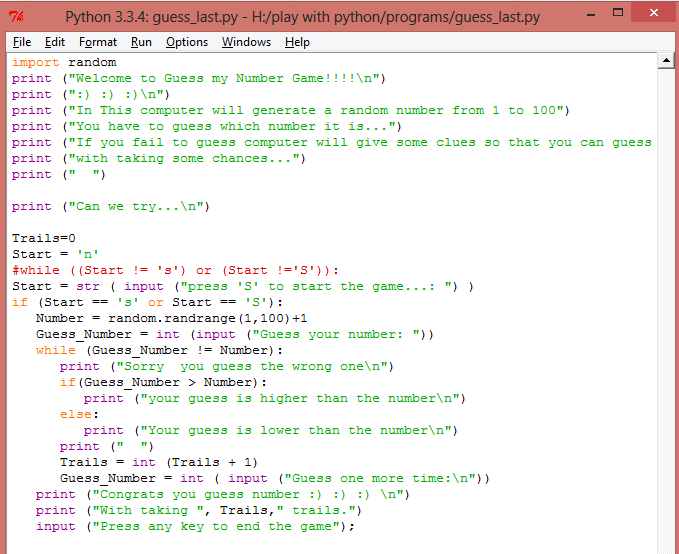 Guess my number game in python: