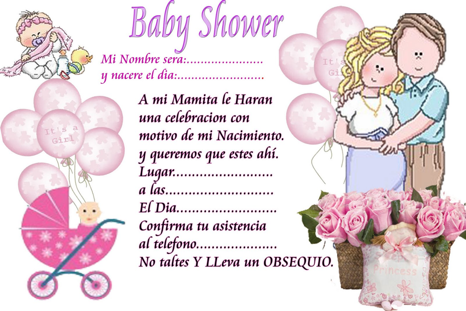 Decoracion Baby Shower Para Imprimir ~ MANUALIDADES INVITACIONES DE BABY SHOWER