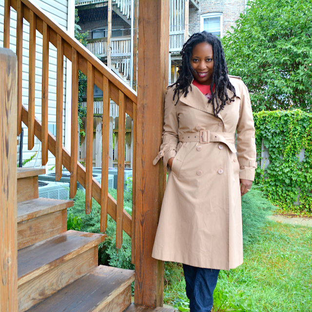 thrifted burberry style trench coat
