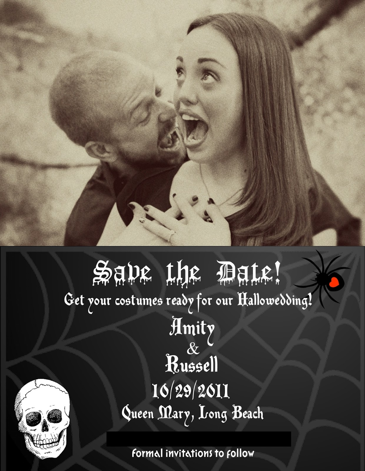 Amity Originals Halloween Wedding Wednesdaysave The Date. Free Id Badge Template. Sample Resume For Recent College Graduate. Holiday Party Invitation Template Free. Free Printable Banner Template. D Gala Event Center. Diabetes Care Planning Template. Free Pattern Clerk Cover Letter. Free Construction Proposal Template