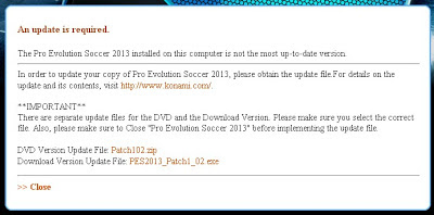 Error Update Data pack Game PES 2013 1