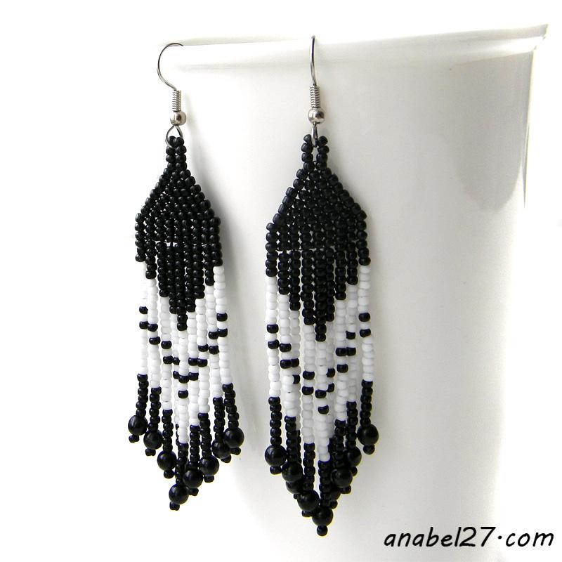 black & white fringe beaded earrings - dangle earrings - beadwork