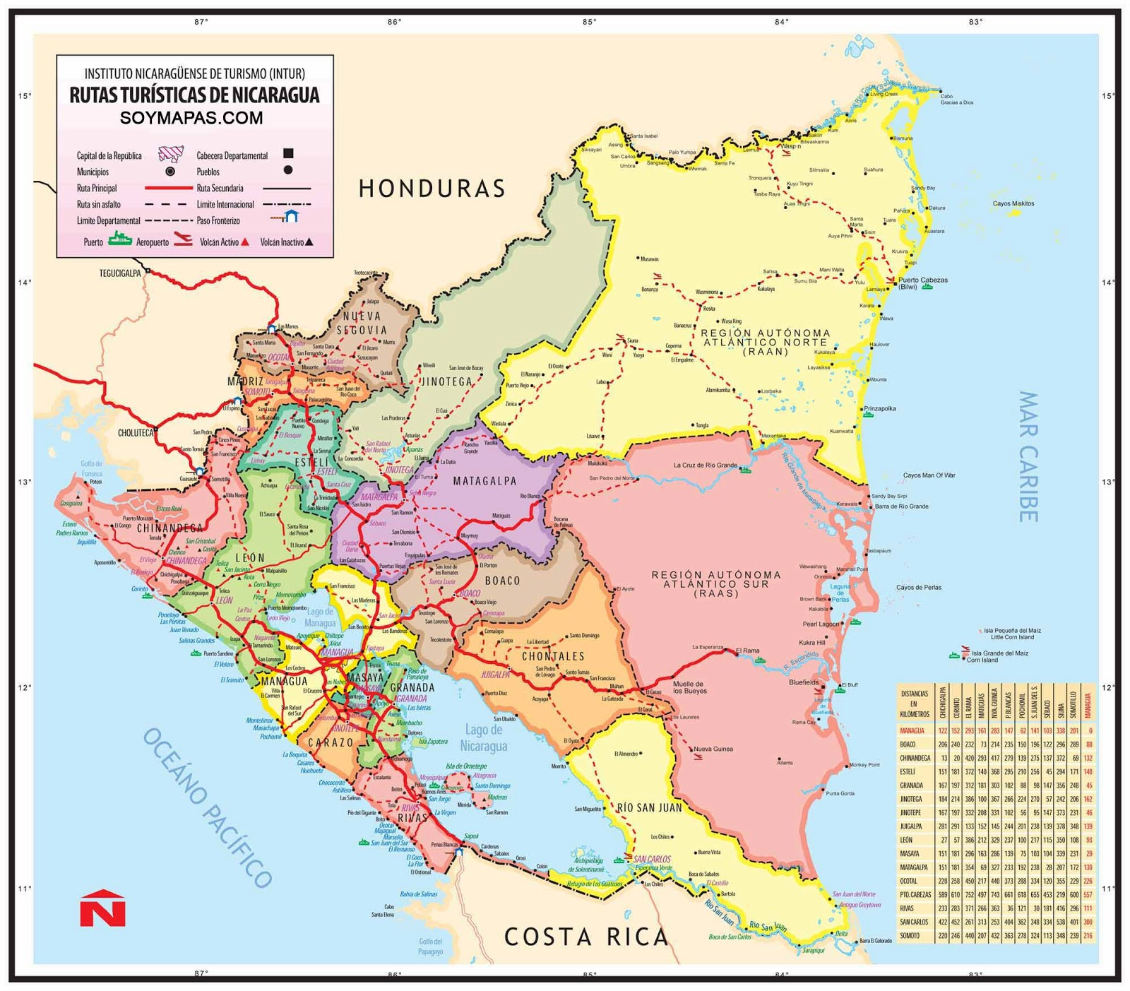 Mapa turístico de Nicaragua