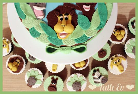 hayvan temali pasta ve cupcakeler