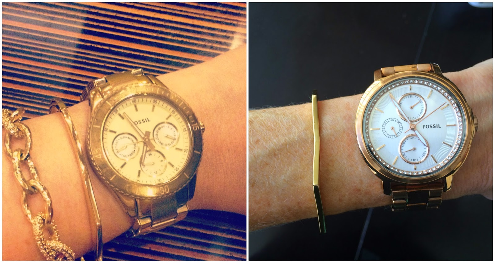 Rose Gold Fossil Watch, Chelsey, Stella, Gorjana Mila Hexagon Cuff