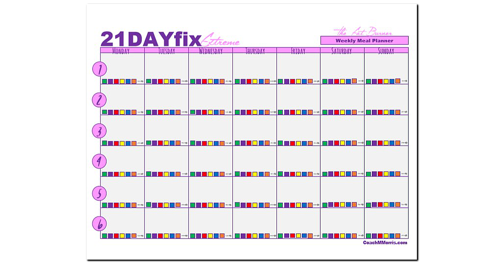 21 day fix fix extreme weekly meal planners to insanity back