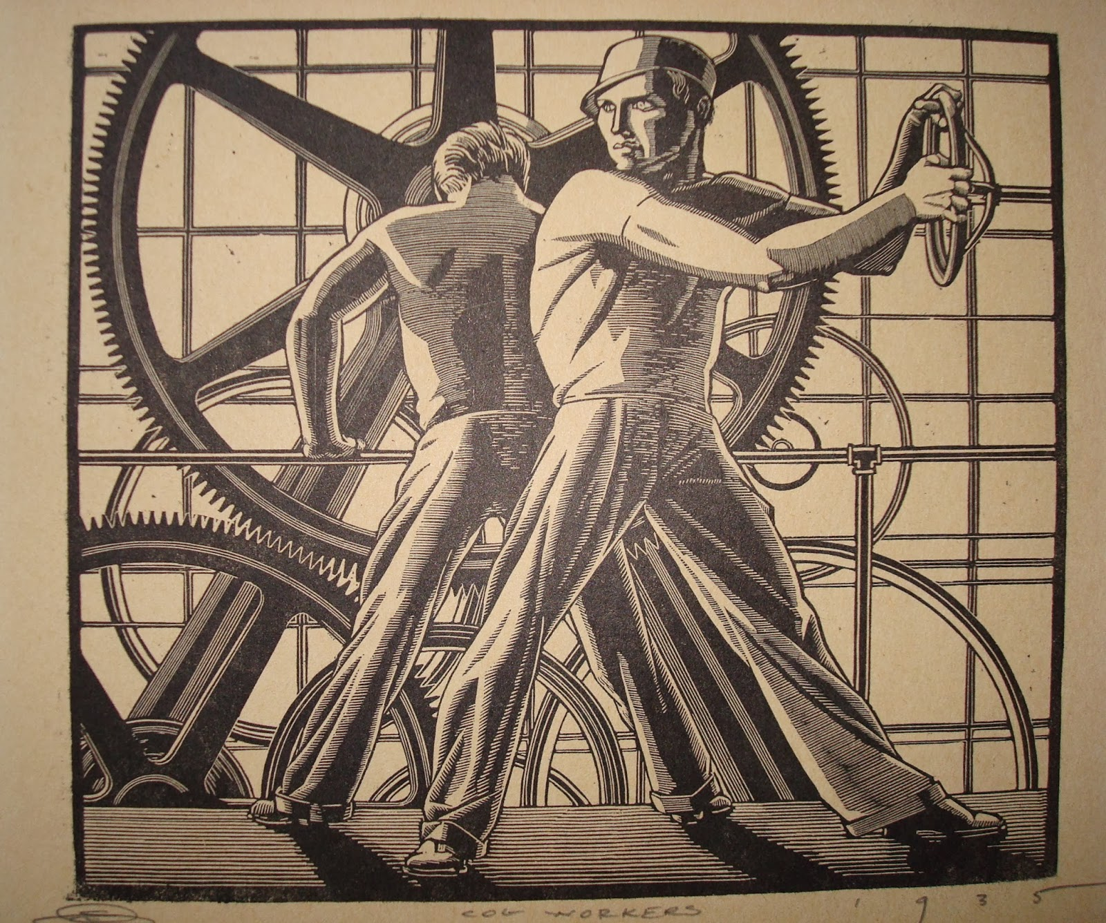 Era antiques american art deco engraving titled cog workers for Art deco period