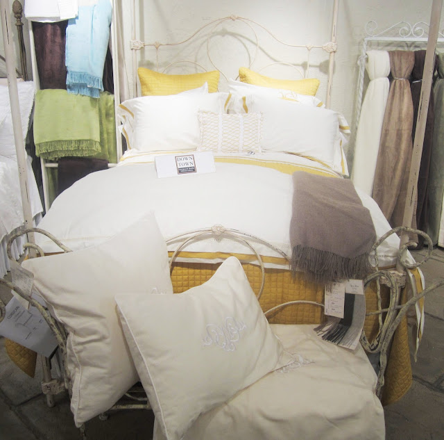 Nbaynadamas Loop pillow in yellow on white, yellow and mustard bedding from the Downtown Company