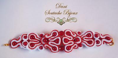 pulseira em soutache vermelho e branco