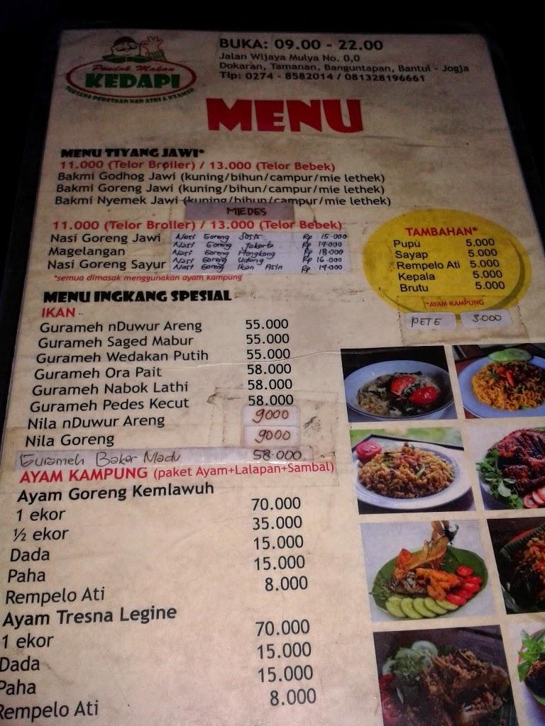Daftar menu dan harga di Pondok Makan Kedapi