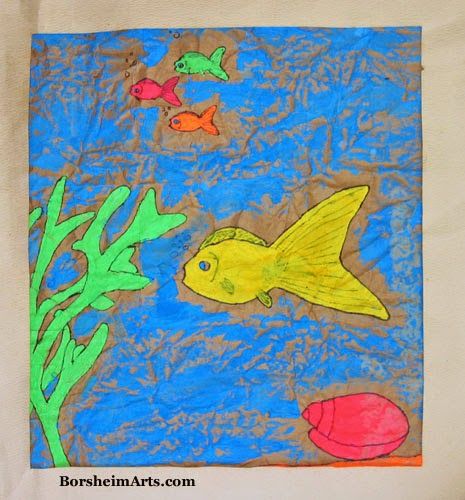 fish painting, aquatic art, child's art, art by children, kid painting, ocean in art, fish