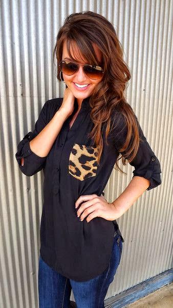 Leopard pocket on black and denim fashion