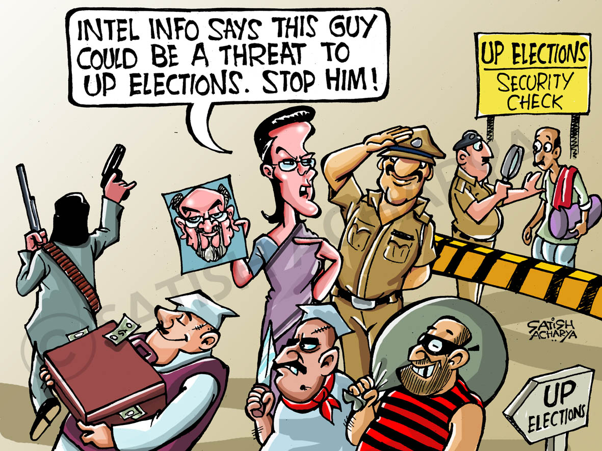 Funny Indian Cartoons India Aug Police