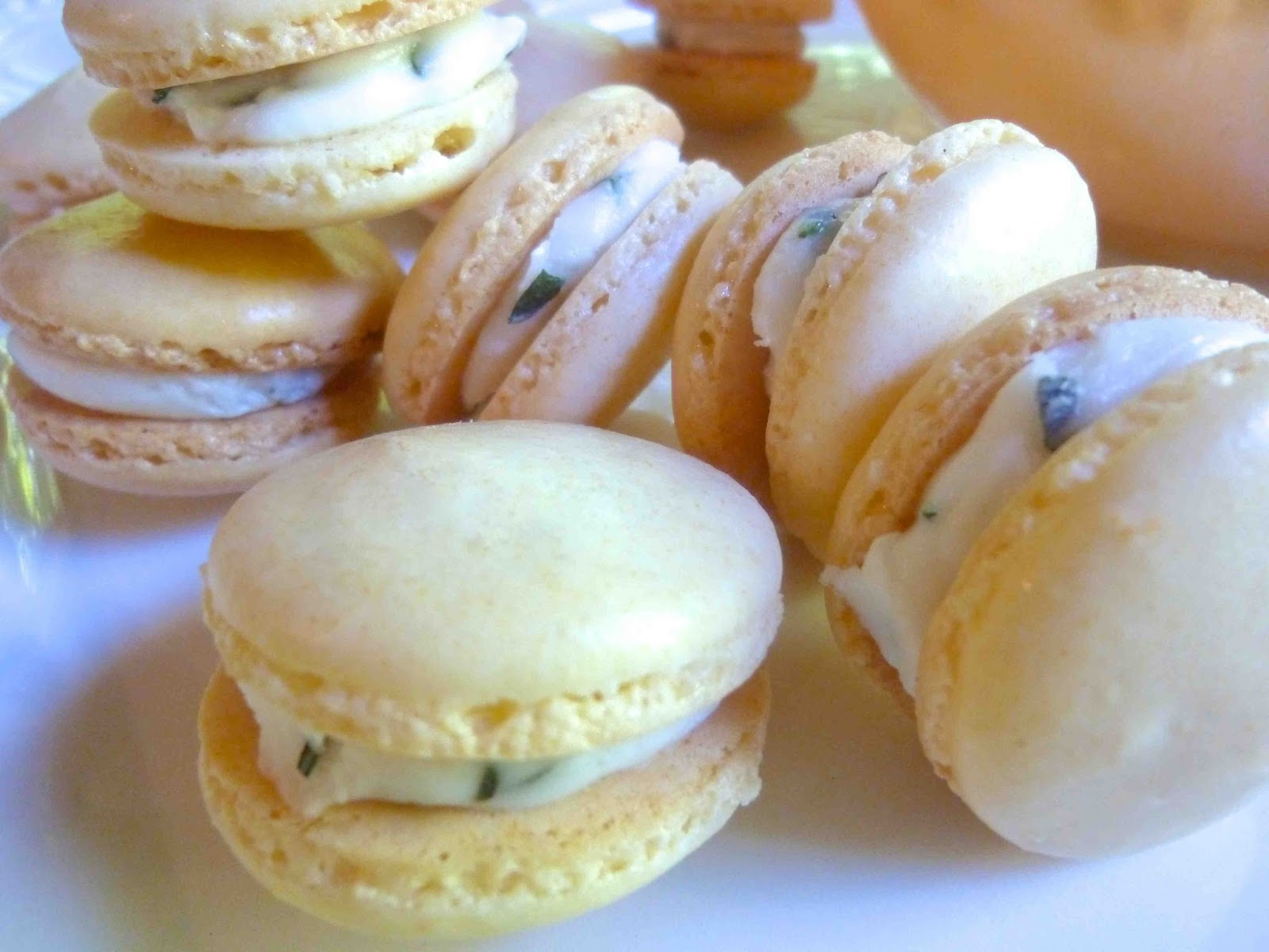 ... : Goji Berry Macarons with Mixed Herb Vanilla Buttercream Filling