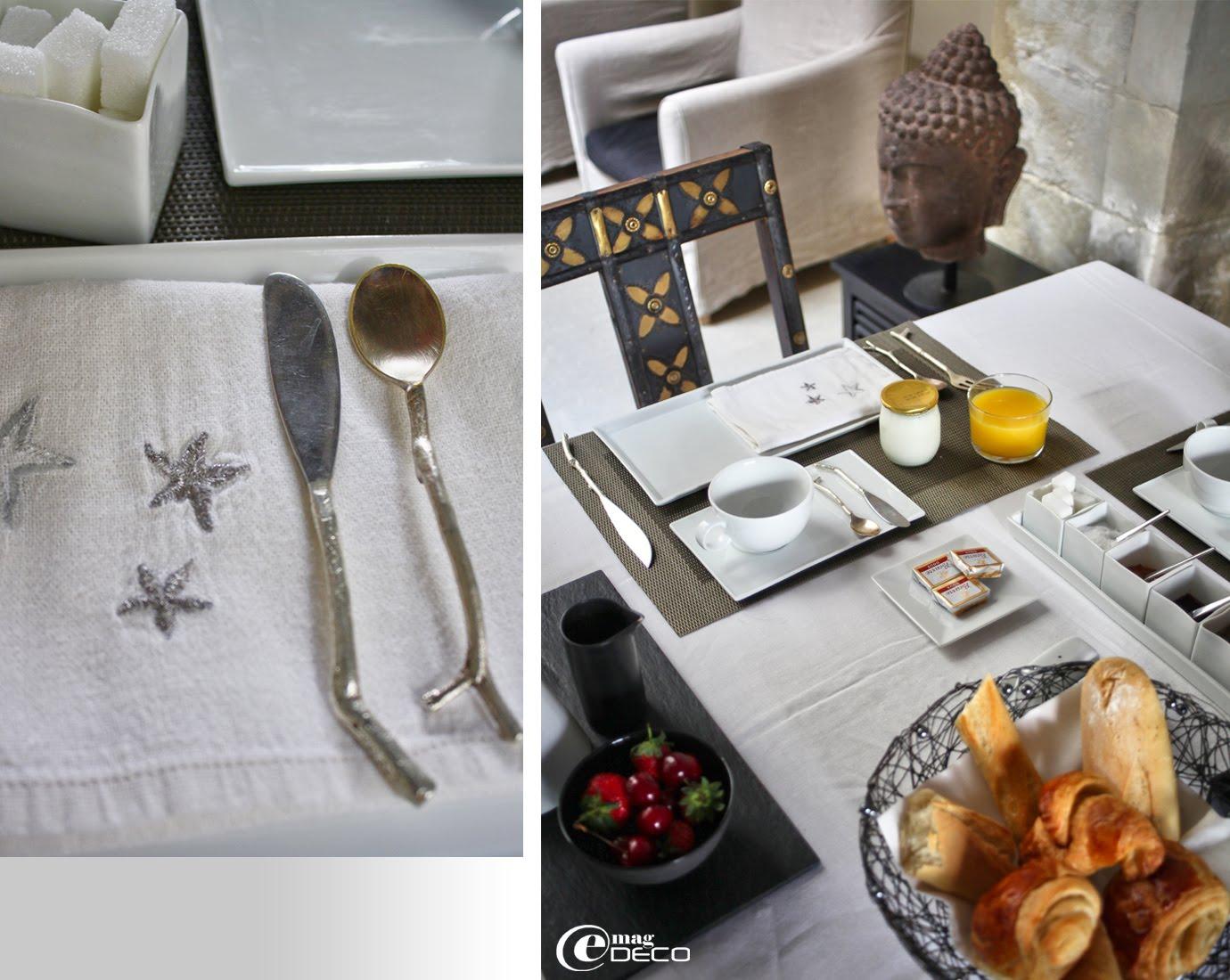 Couverts en métal argenté réalisés par un designer de New Delhi et petits-déjeuners servis à La Maison sur la Sorgue