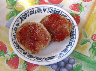 crabapple jelly on an English muffin