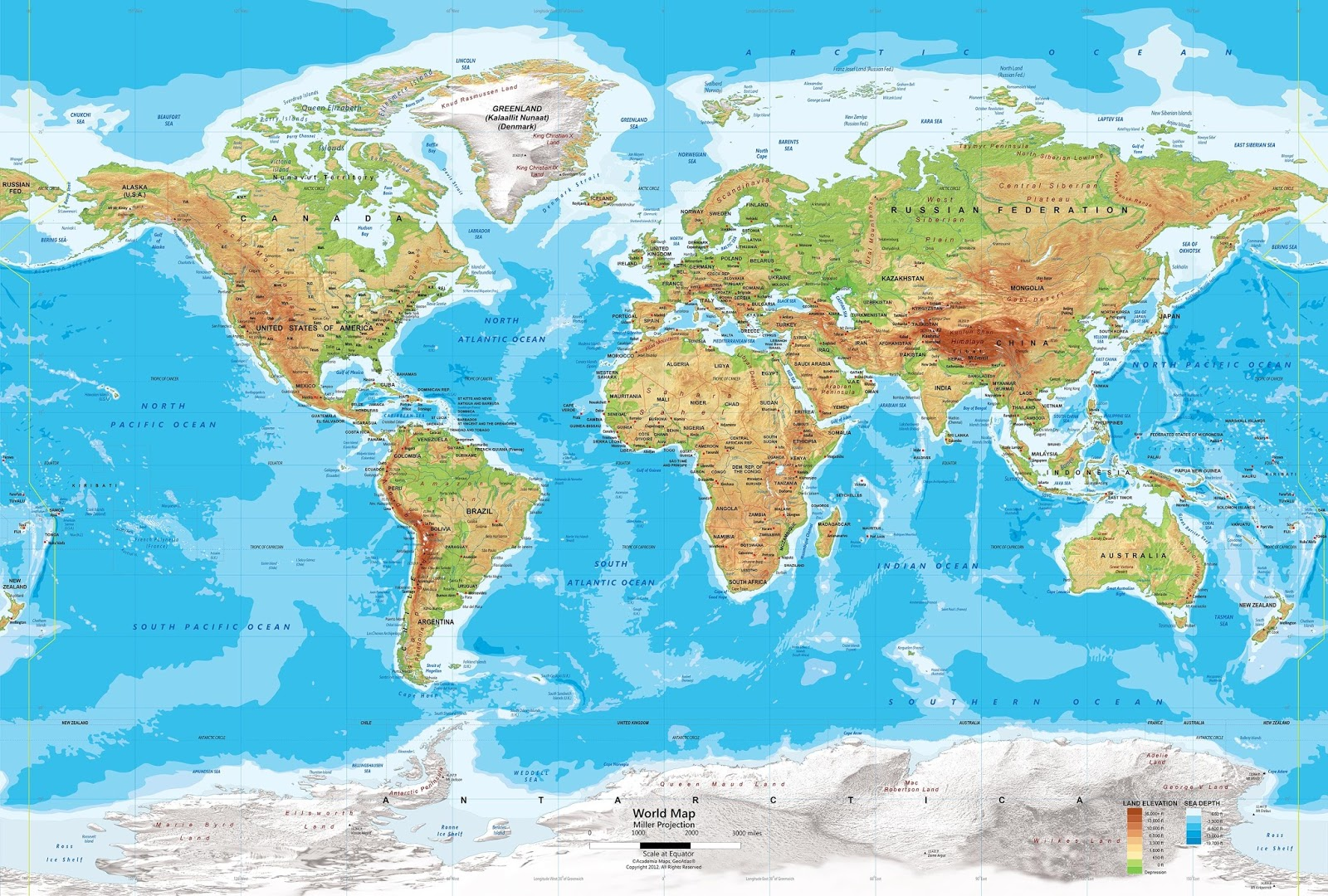 World map political and physical learning geology physical map of the world gumiabroncs Gallery