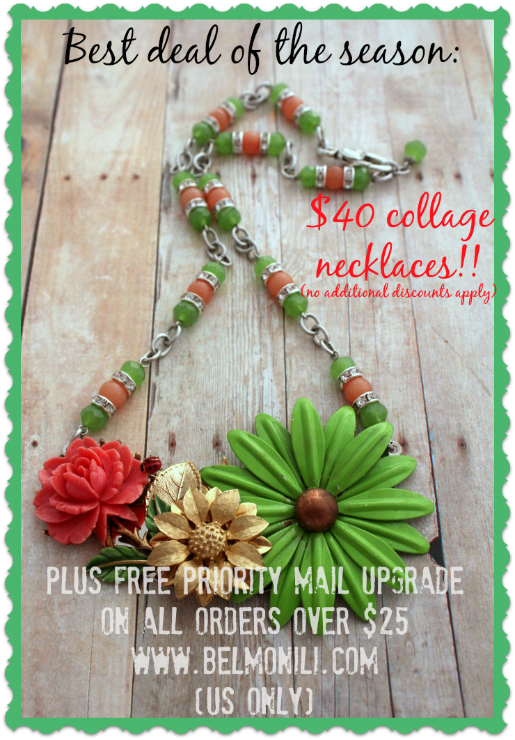 bel monili, collage necklace, unique necklace, upcycled recycled repurposed, pittsburgh jewelry, handmade jewelry, statement necklace, gifts under $50