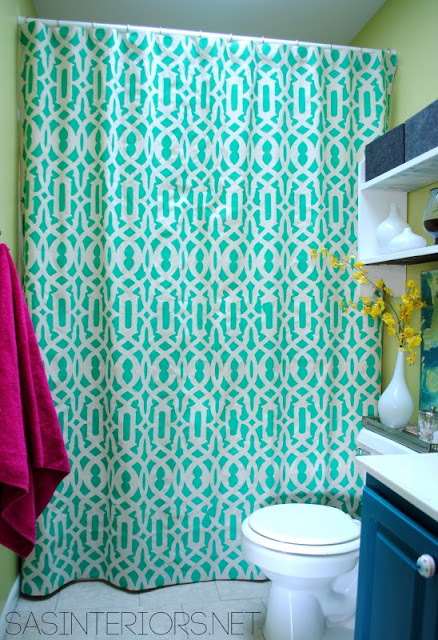 Be Different...Act Normal: DIY Stenciled Drop Cloth Shower Curtain