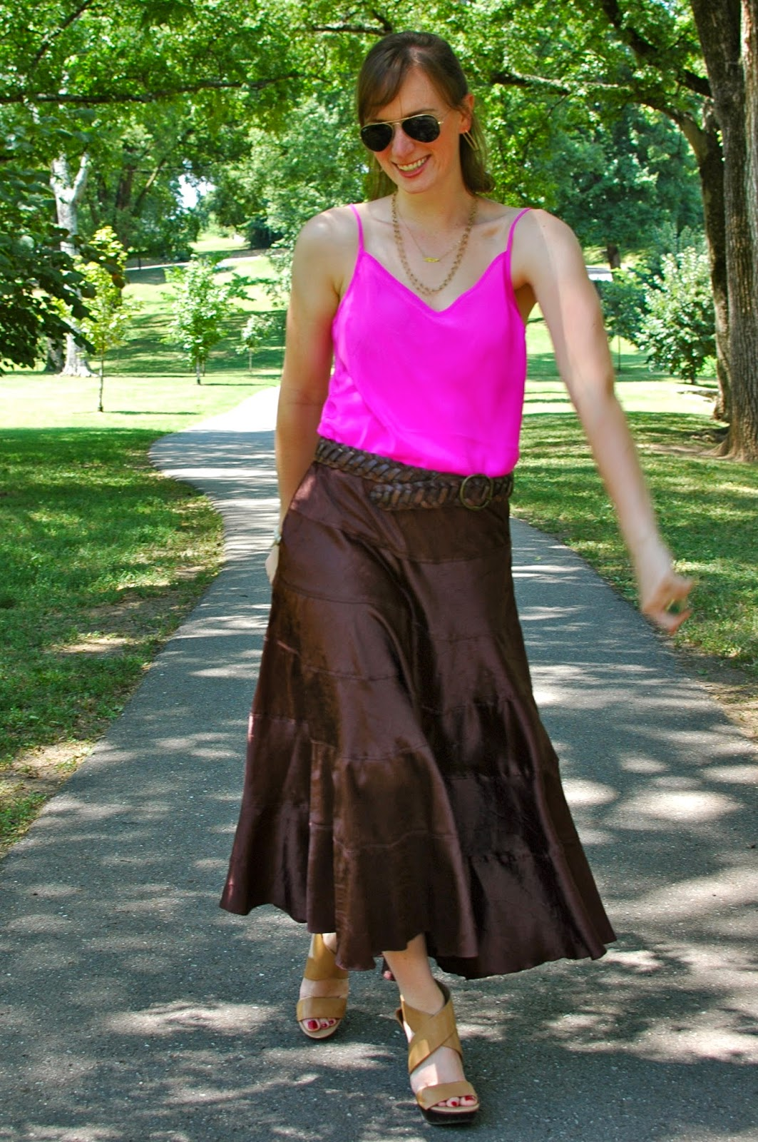 Boho Chic, Maxi Skirt, Pink Silk Cami, Brooke Worthington Jewelry, Rayban, DVF Wedge