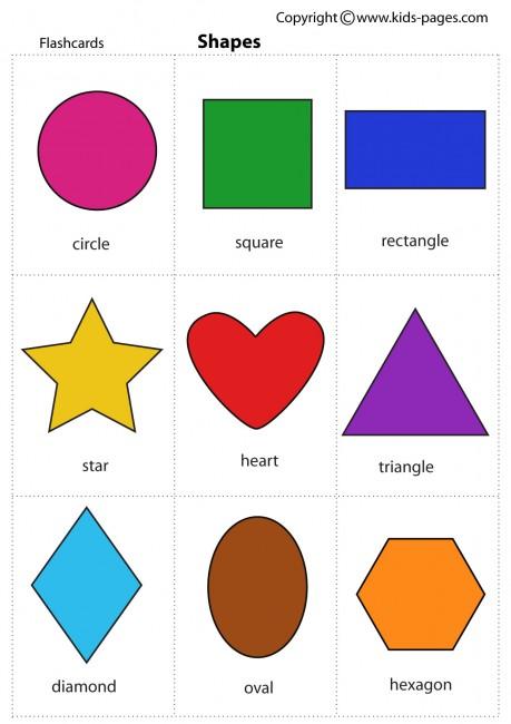 Printable shapes flash cards moreover 3d shape matching worksheet