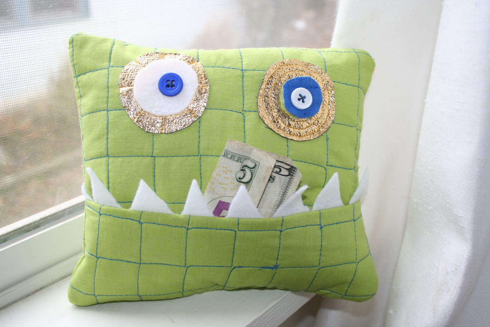 Cute Tooth Pillow : her hobby: monster tooth pillow