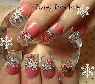icicle and snowflake nail art
