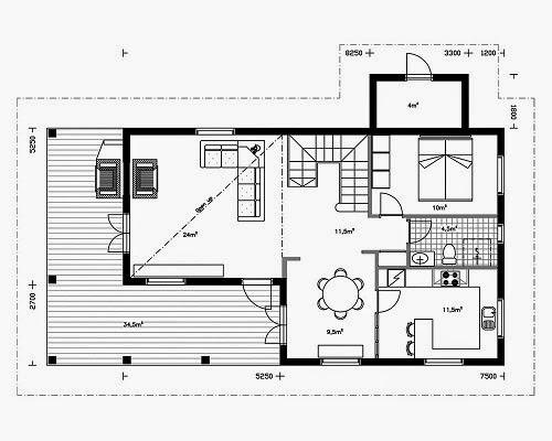 Planos de casas gratis plano casa rural de 153 m2 - Planos de casas rurales ...