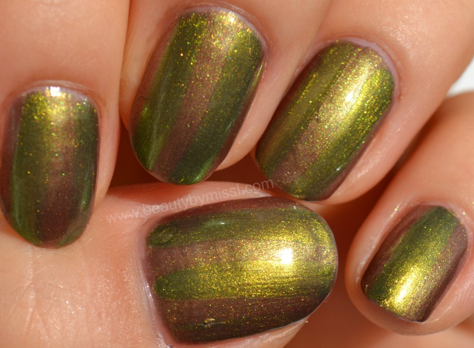 golden green, golden brown, manicure