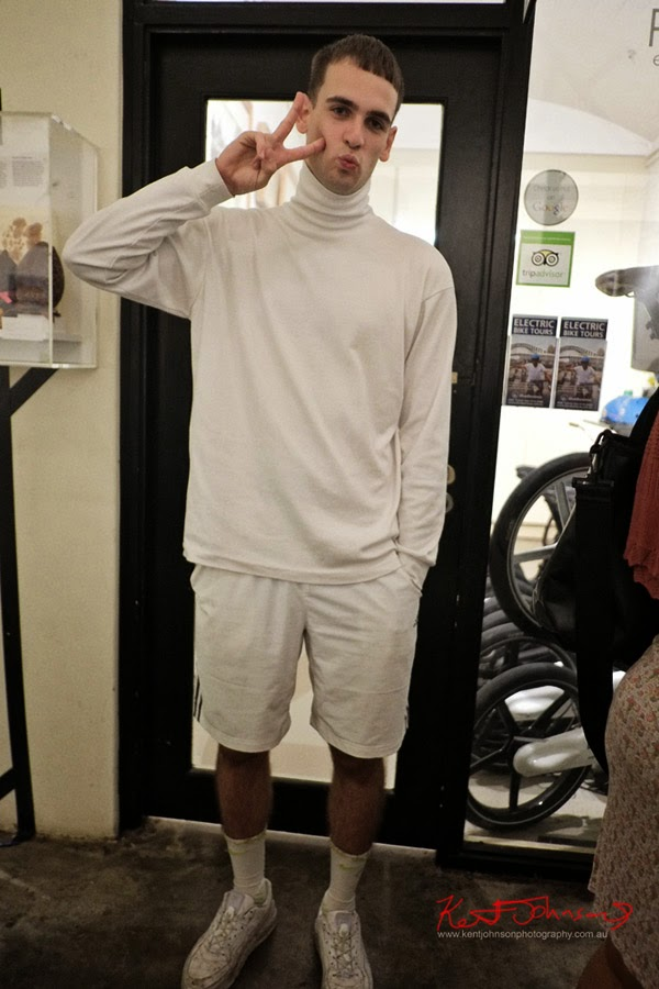 White sports look with shorts, runners, Skivvy. Men's Fashion, Fitness is the new fashion. Photo by Kent Johnson.