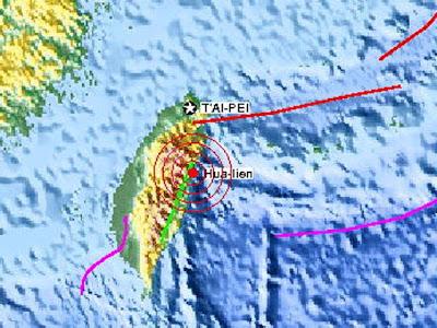 Epicentro sismo 5.5 en Taiwan, el 22 de Diciembre 2012