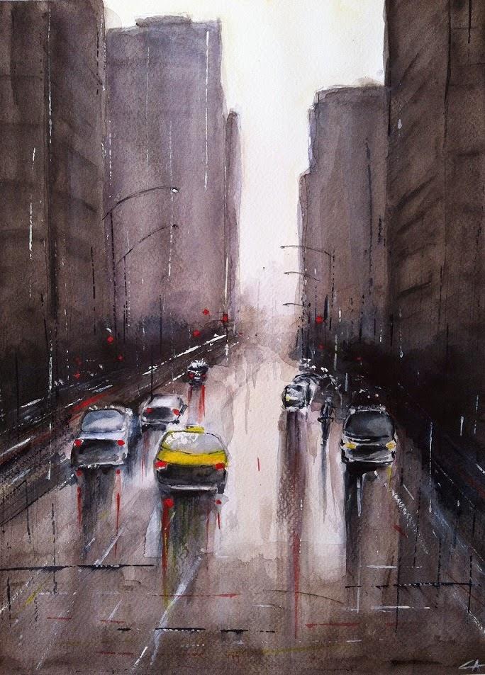 New York Pluie aquarelle