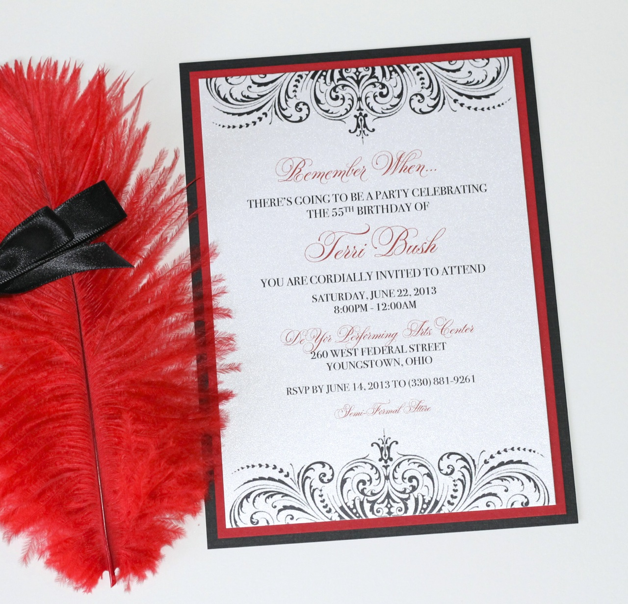 Custom 55th Birthday Invitation Moulin Rouge Style Black White