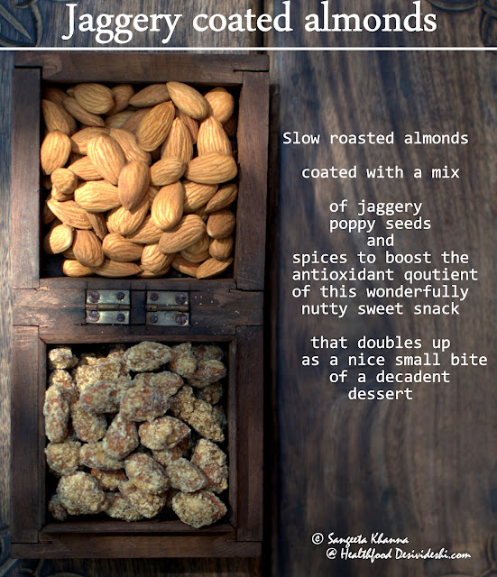 Jaggery coated almonds