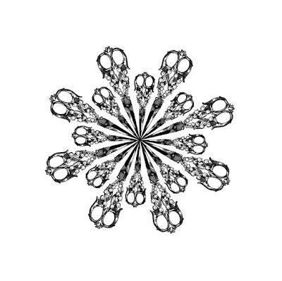 starburst of black vintage scissors