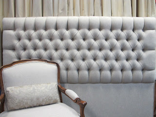 The Lilly headboard has been upholstered and padded with a Warwick linen and looks fantastic.