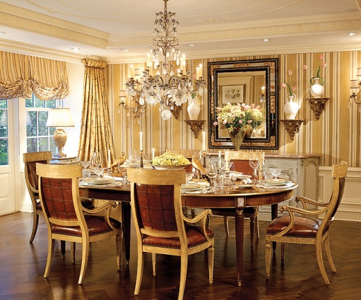The enchanted home gilded in gold gorgeous for Traditional dining room wallpaper