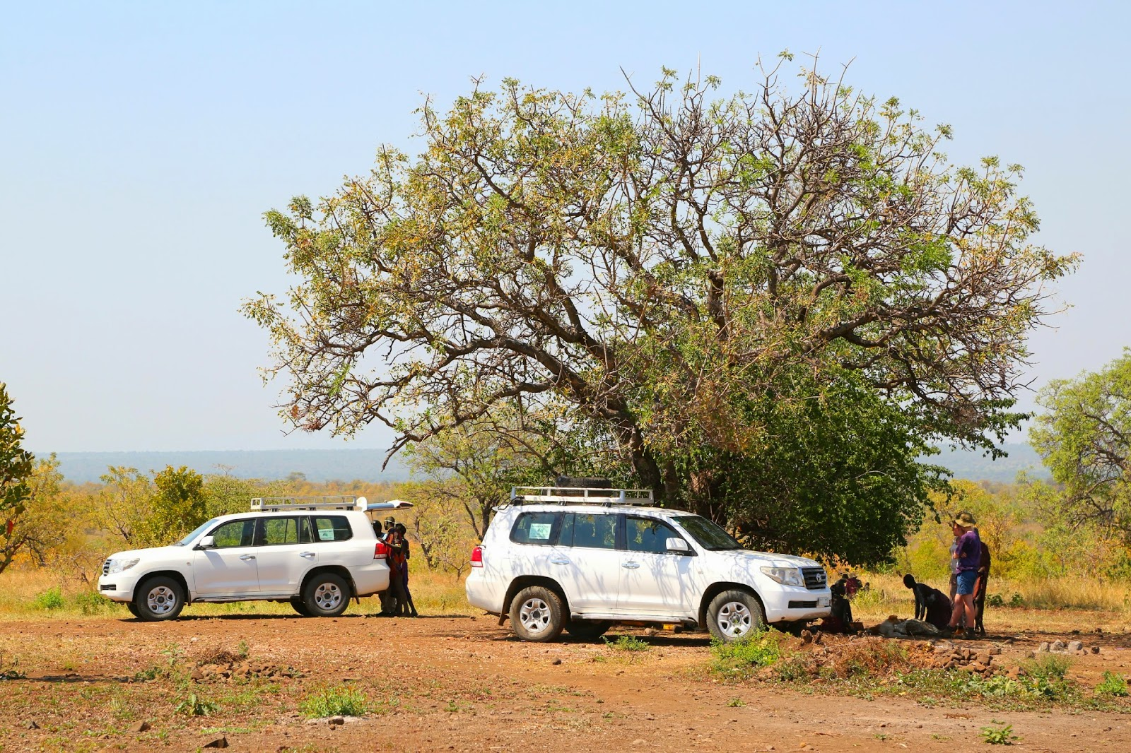 Our 4WD's at the Mursi village