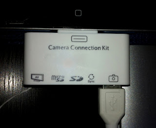 Use an iPad 5-1 camera connector to save space on your camera.  Running out of space on your camera SD card.  Need more space on the camera SD card.  Connect camera to iPad using a 5-1 connector.