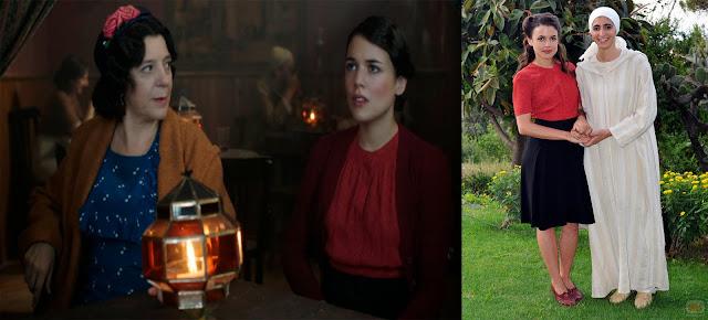 Sira Quiroga blusa roja y falda vuelo negra. El tiempo entre costuras. Capítulo 2.