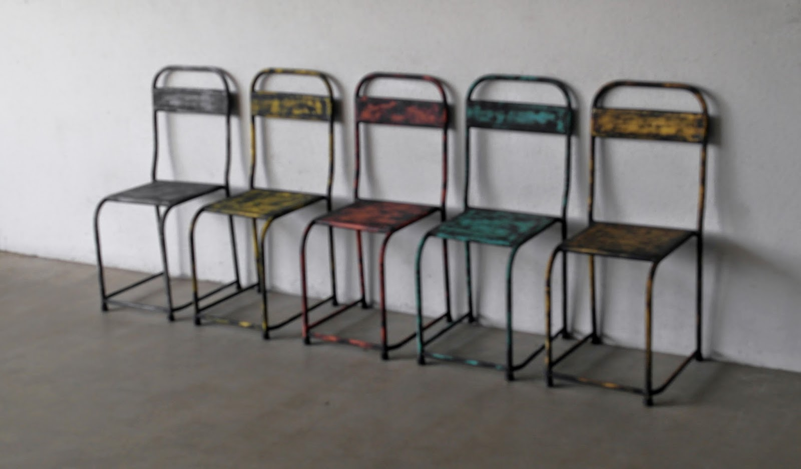 distressed industrial furniture. an all metal chairs in distressed colours industrial furniture d