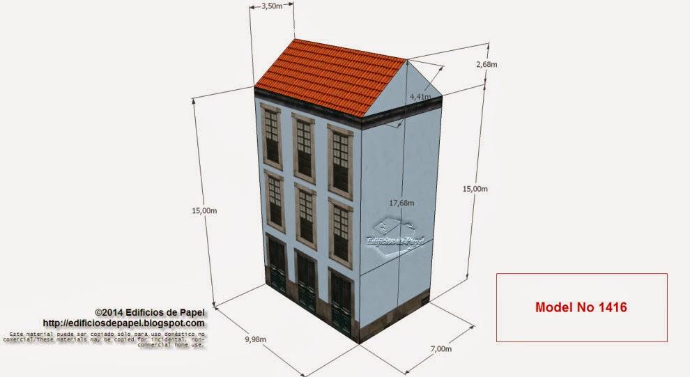 """Edificios de Papel -  Modelo 1416 - Casona Urbana Gallega 3. Serie """"Ourense"""" - """"Ourense"""" series."""