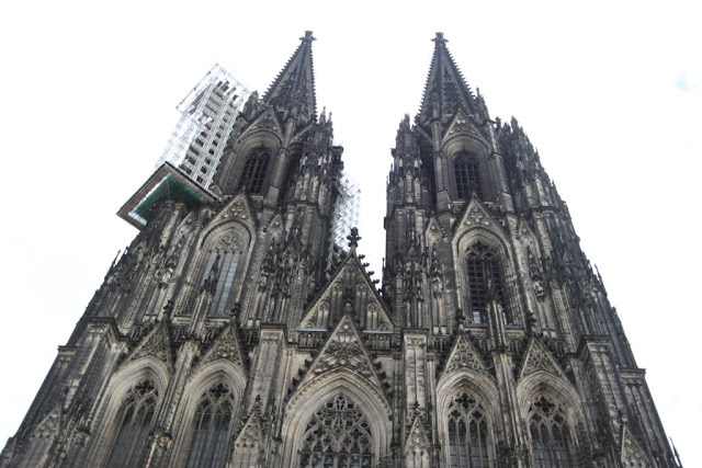 A close up view of Cologne Cathedral with the  detailed architecture structure in Cologne, Germany