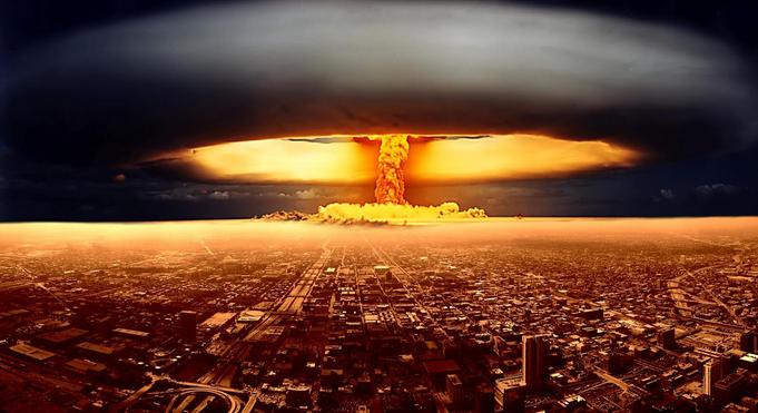 bomba nuclear atomica destruyendo una ciudad